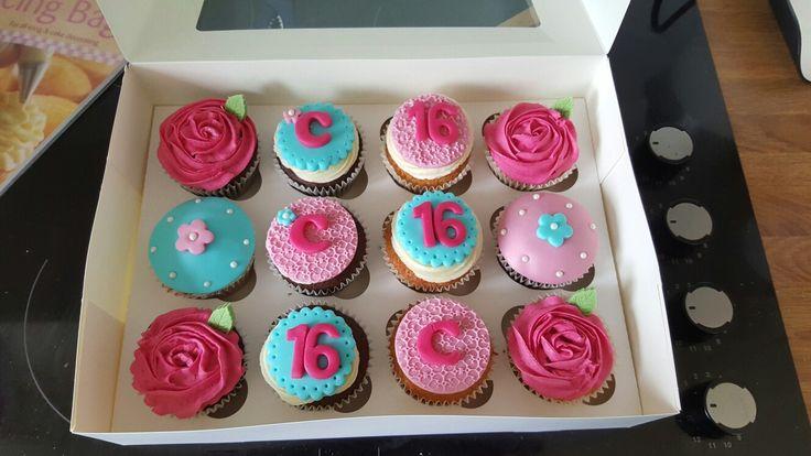 Sweet 16 cupcakes: roses, fuschia pink and aqua.