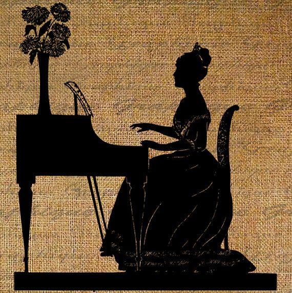 Princess Plays The Piano Woman Silhouette Big Dress Flowers Music    Playing Piano Silhouette