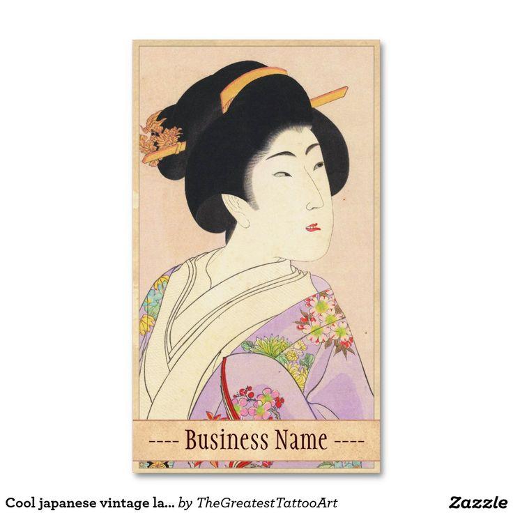 Cool japanese vintage lady geisha portrait art business card