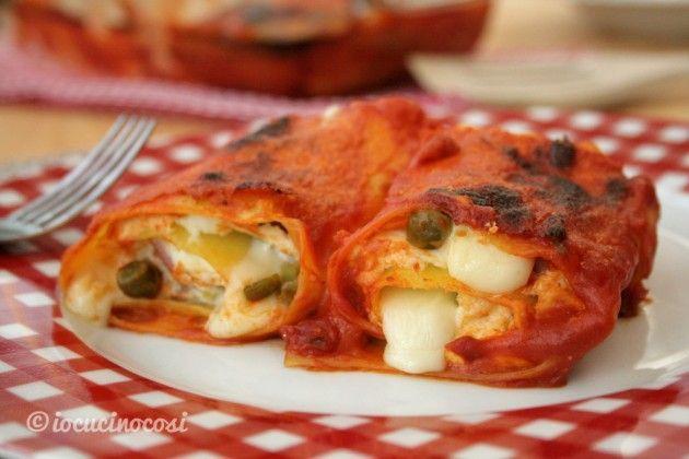 Lasagna roll - Rotoli di lasagna con ricotta prosciutto e piselli