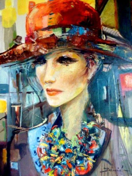 Tableau peinture femme portrait chapeau mode personnages for Peinture a la mode