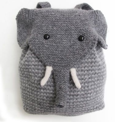 elephant backpack knitkit by critterknits.