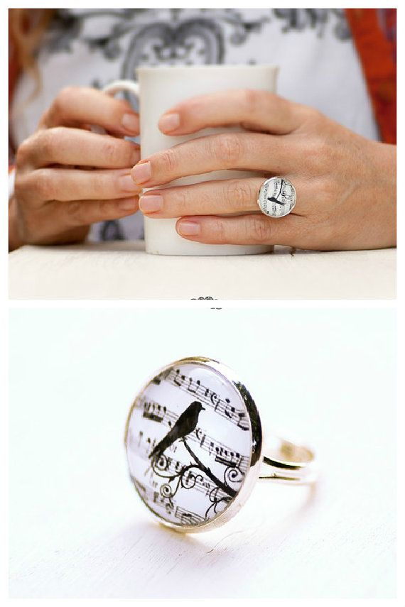 Hey, I found this really awesome Etsy listing at https://www.etsy.com/listing/214382919/music-note-ring-bird-ring-photo-glass