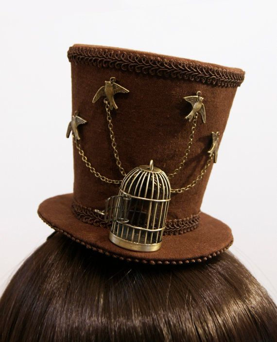 "Antique Bronze ""Release the Birds"" Steampunk Mini Top Hat - Made to Order"