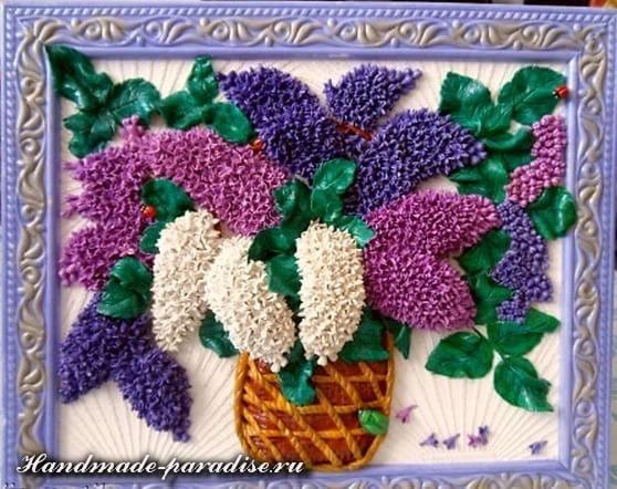 Сирень из соленого теста в виде цветочного панно украсит любую из комнат в интерьере вашего любимого дома. Хочу показать как лепятся цветочки сирени