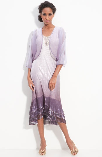 Komarov Ombré Pleated Satin & Chiffon Dress with Jacket available at Nordstrom