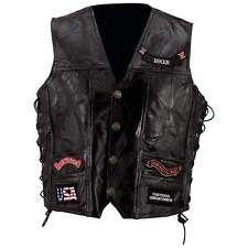 Masculino Preto Couro Genuíno Colete Moto Com 14 patches Bandeira Americana Eagle Biker