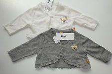 STEIFF Newborn Strickjacke Bolero Jacke Cardigan Weste  Größe 56 Grau Weiß NEU M