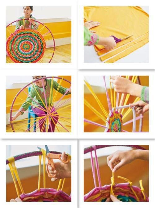 I want to make one of these, but the directions are not there,,, it is only pics..     Hula hoop loom! need to get me a hula hoop now lol