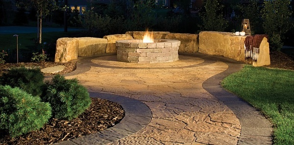 Love the walkway pavers landscapeWalkways Pavers, Hardscape Ideas, Landscapes Ideas, Outdoor Fire Pits, Outdoor Living, Backyards Ideas, Patios, Outdoor Spaces, Awesome Firepit