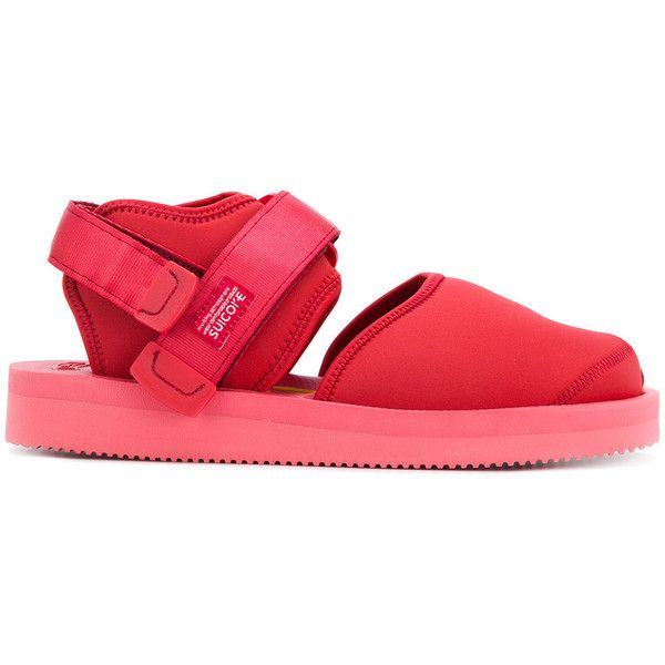 Suicoke closed toe sandals ($254) ❤ liked on Polyvore featuring men's fashion, men's shoes, men's sandals, red, suicoke mens sandals, mens rubber sole shoes, mens red shoes, mens flat shoes and mens closed toe sandals