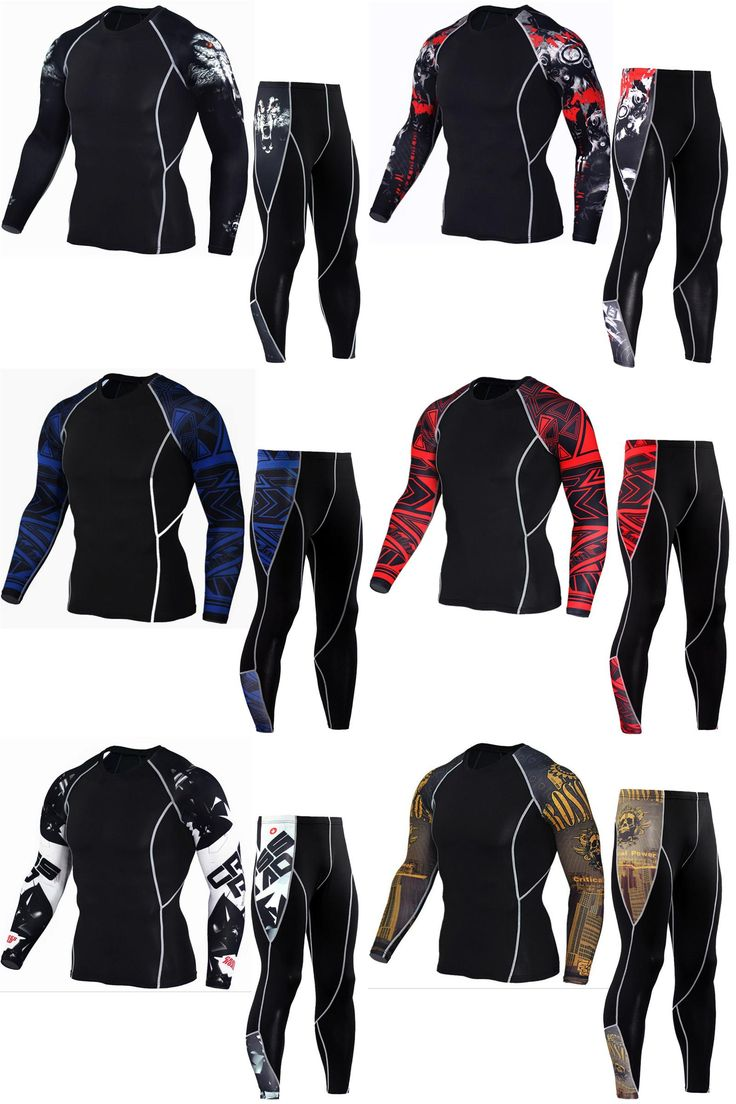 [Visit to Buy] Men's Compression Run jogging Suits Clothes Sports Set Long t shirt And Pants Gym Fitness workout Tights clothing 2pcs/Sets #Advertisement
