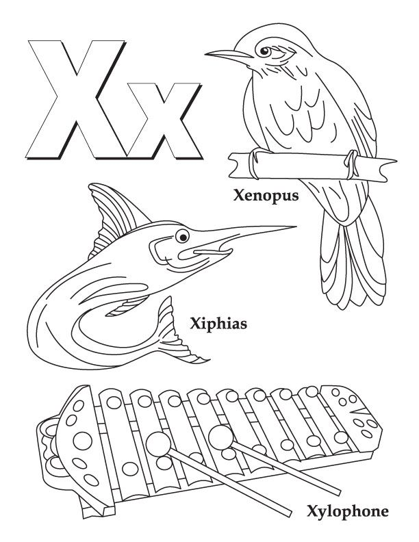 My A To Z Coloring Book Letter X Page