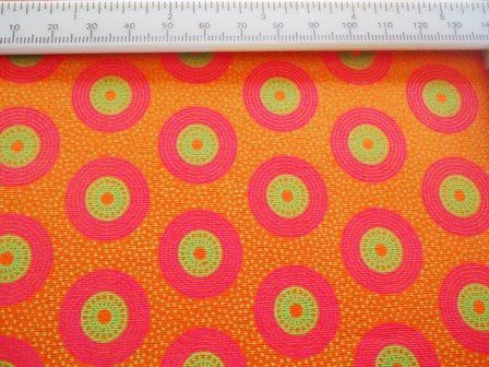 1 metre (1.1 yards) orange South Africa medium weight cotton with green and cerise pink retro circles on Etsy, $12.00
