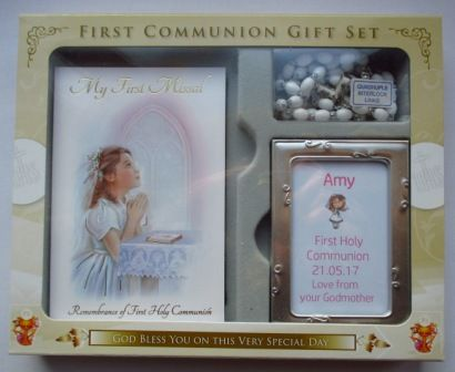 """Girl Communion Gift set: Includes Paperback """"My First Missal"""", White Rosary and metal photo frame with personalisation included.  Please indicate your choice of personalisation panel:  Girl with Brown/Black/Blonde/Red Hair (coordinates with Girls with different colour hair Communion Cards);  Gingham Girl(coordinates with FHC Girl Gingham Frame and Gingham Girl Rosary Communion Cards);  White Flower (coordinates with White Flower Heart Communion Card)"""