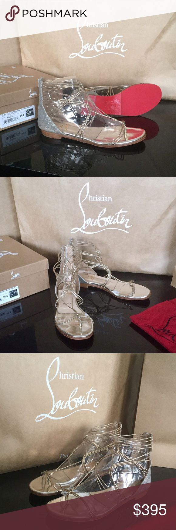 Christian Louboutin Blanca Light Gold/Ivory Sandal Christian Louboutin Blanca Flat Nappa Light Gold/Ivory Metallic Sandals.Metallic Leather rope straps wrap around the foot and ankle. Light gold glitter heel with zipper. Padded footbed. Includes red rubber padding on the bottoms to prevent slipping and to protect from wear, which was an additional $45. These are pre-worn with 2 spots that peeled on the footbed (as reflected in price). Original price:$957.65 (please refer to receipt in…