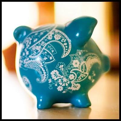 Paint + Stencils = Pretty Piggy Bank.
