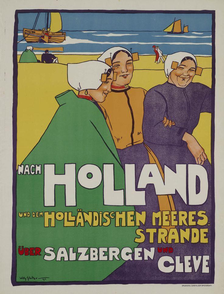 Vintage Travel Poster - Nach Holland und dem Holländischen Meeres Strande über Salzbergen und Cleve.