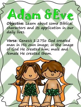 Bible characters Adam and Eve. Adan y Eva.