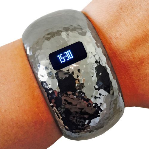 Fitbit Bracelet for Fitbit Charge or Charge HR Fitness Trackers - The BRIANNA INSIGHT Hammered Hematite Hinge Bangle Fitbit Bracelet by Funktional Wearables.