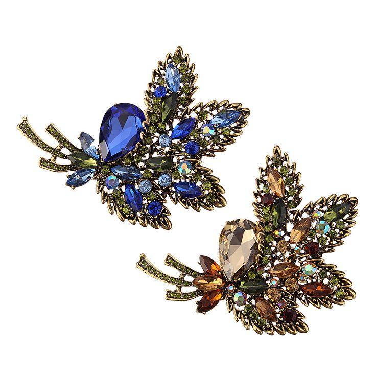 Elegant Colorful Crystal Rhinestone Flower Leaf Wedding Brooch Pin Scarf Buckle Pendant