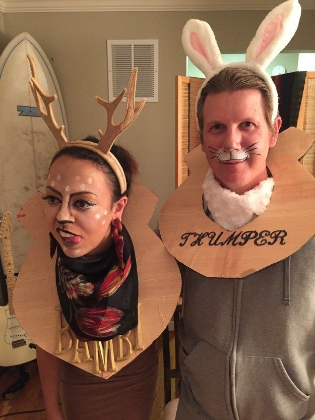 taxidermy bambi and thumper two person halloween costumeshalloween mencouple - Mens Couple Halloween Costumes