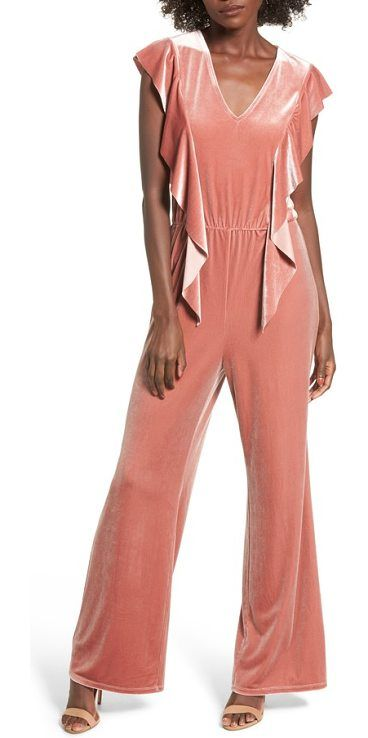 ruffle velour jumpsuit by Leith. Pretty ruffles cascade down the sides of this lustrous velour jumpsuit that adds a romantic note to any evening. Style Name: Leith Ruffle Velour Jumpsuit. Style Number: 5406854. Available in stores. #leith #dresses