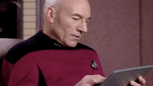 Captain Picard. The original iPad user.Inner Geek, Stars Trek, Startrek, Geeky Lifestyle, Originals Ipad, Geek Culture, Apples Ipad2, Captain Picard, Star Trek