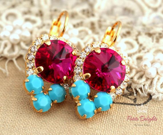 Turquoise Fuchsia pink Drop earrings. swarovski drop earrings, Rhinestone lever back earrings, gift for woman, mother of the bride earrings Petite Delights designs - Elegant earrings with Turquoise , Fuchsia, white clear Swarovski-color crystal Petite Delights is an Official SWAROVSKI® Branding Partner Official Swarovski Elements® Partner Made with real genuine high quality Austrian Swarovski ©Crystal . Our brand is legally licensed & authorized By Swarovski Company for high quality manu...