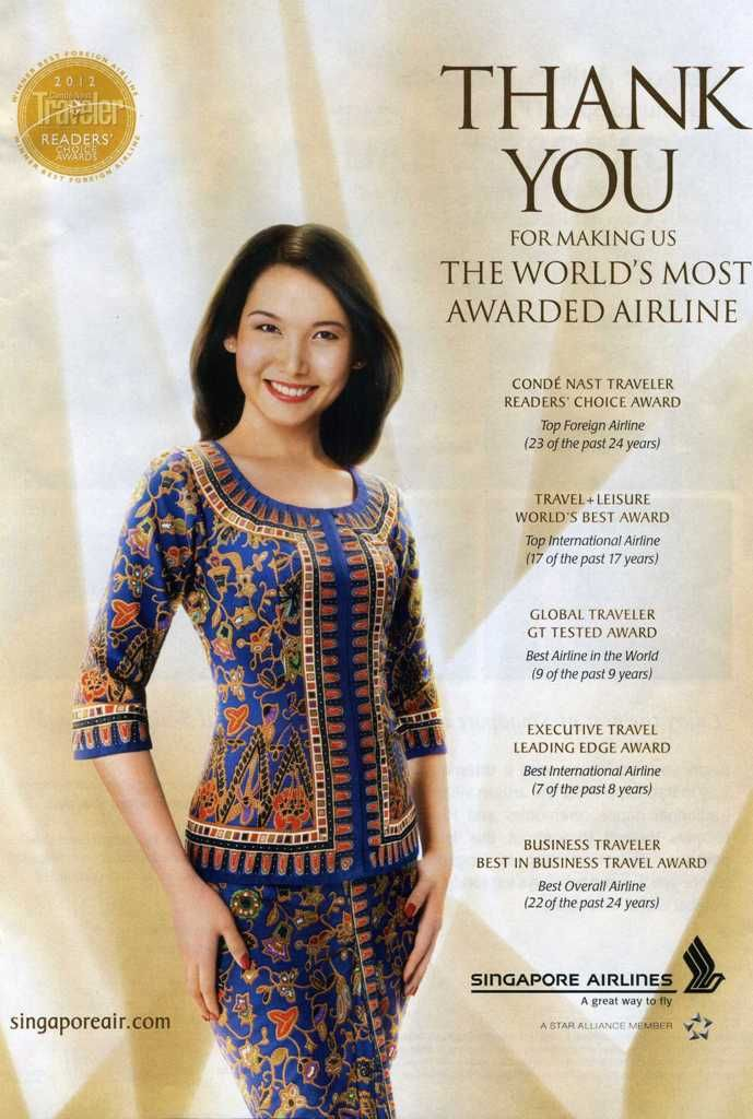 singapore airlines costume | Singapore Airlines is also the world's most awarded airline
