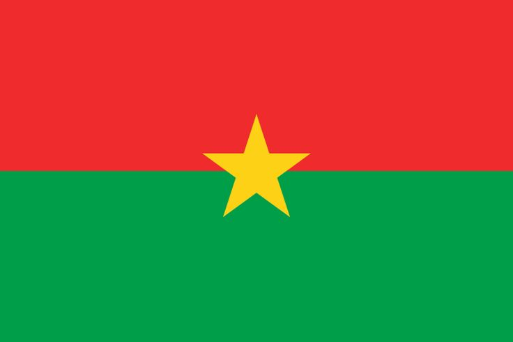National flag of Burkina Faso from http://www.flagsinformation.com/burkina-faso-country-flag.html  Two equal horizontal bands of red (top) and green with a yellow five-pointed star in the center note: uses the popular pan-African colors of Ethiopia.