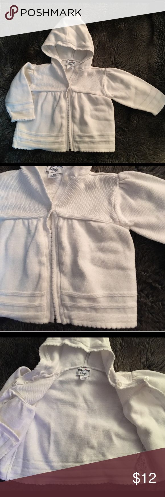 Heartstring baby girl knit sweater 18mo Heartstring baby girl knit sweater size 18 months. White in color. Hood and two buttons at front. Slight scalloped edge and detailing throughout. Maybe worn once if at all. Heartstring Shirts & Tops Sweaters #babygirlsweaters