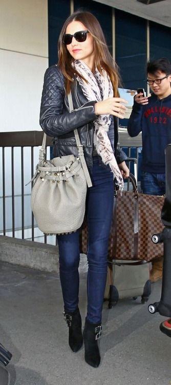 Miranda Kerr street style with leather jacket and skinny jeans. #mirandakerr