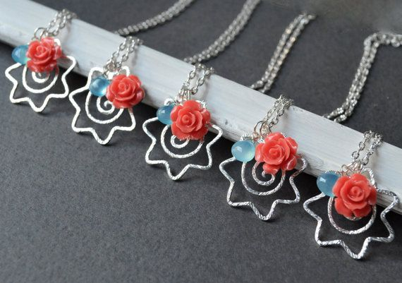Starfish Necklace coral and aqua blue by ArtemisBridalJewelry, $16.00