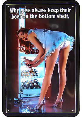 """""""WHY Guys Always Keep Their Beer ON THE Bottom Shelf"""" Sexy Pinup TIN Plate 