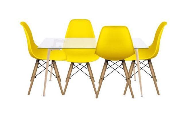 Conjunto Com Mesa De Vidro Retangular E 4 Cadeiras Dkr Eames