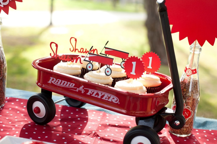 Little Red Wagon Birthday Radio Flyer Personalized Cupcake toppers, via Etsy.