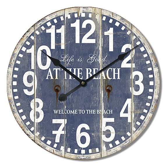 BEACH Wall Clock Blue Coastal Style 24x24 Inches Beach Cottage Style Wood Mdf