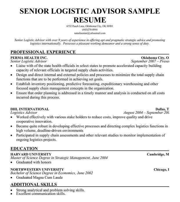 Senior Logistic Management Resume | SENIOR LOGISTICS ADVISOR RESUME TEMPLATE