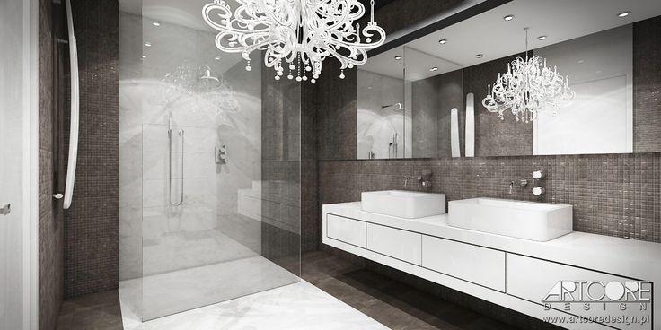 Nowoczesny projekt wnętrza łazienki. Piękne beżowe wnętrze zapewnia użytkownikowi spokój i relaks. Więcej na www.artcoredesign.pl