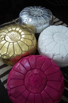 Moroccan Leather Pouf mediterranean ottomans and cubes