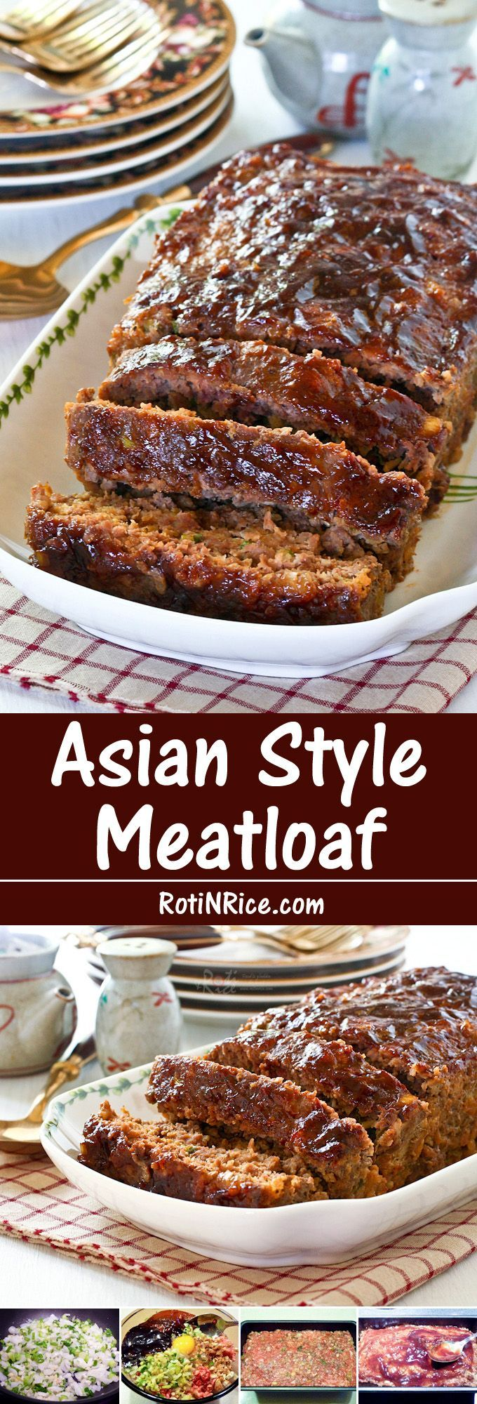 Moist and flavorful Asian Style Meatloaf flavored with hoisin and soy sauce. Delicious served with rice for a truly Asian taste. | Food to gladden the heart at http://RotiNRice.com