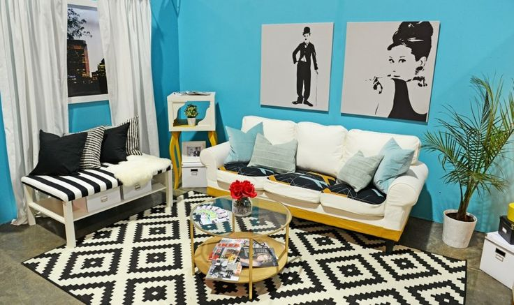 Living Room Interior Design Ideas With Blue Wall Color And Picture Frames Also Plant Pot Ornaments Also White Sofas With Blue Cushions Also Black And White Pattern Cushions Also Glass Window And White Curtains Also Marble Floor Combine With Concentric Plaid Pattern Black And White Fur Rugs Also Round Glass Coffe Table Appealing Modern Black And White Room Design Ideas