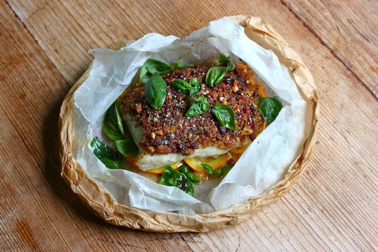 PARCEL-BAKED SNAPPER WITH ORANGE, BASIL, DRIED CRANBERRY & PINE NUT PICADA