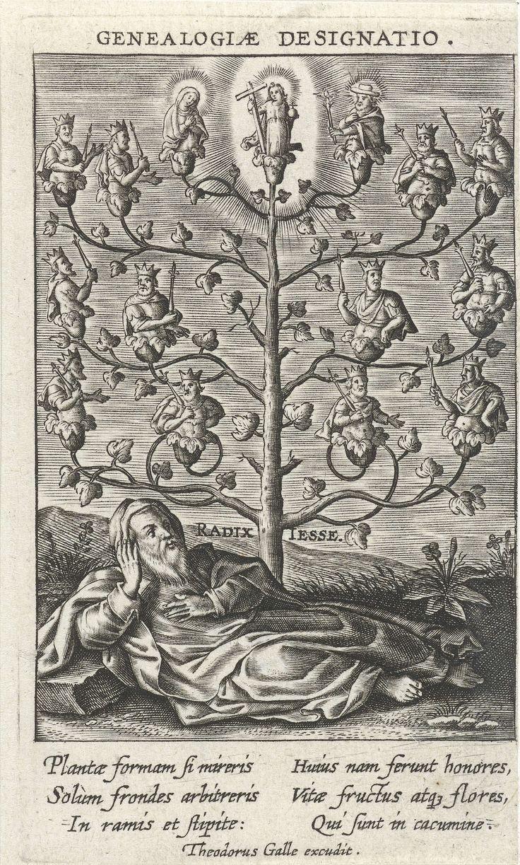 Theodoor Galle | Boom van Jesse, Theodoor Galle, 1581 - 1633 | De boom van Jesse. In de voorgrond ligt Jesse. Uit zijn lendenen groeit een boom, op de takken waarvan zich de voorouders van Christus bevinden. Op de top van de boom Christus. De prent heeft een Latijns onderschrift en maakt deel uit van een zestiendelige serie met taferelen uit het leven van de Heilige Familie.