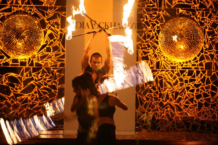 Firedancer on fashion show Lydia Eckhardt - Anta Agni FIRE Show. http://antaagni.com/fire-show/