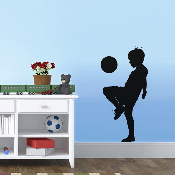 Мальчик играть в футбол стикер силуэт мальчики помещения уолл-декор винил искусство съемный наклейки на стены