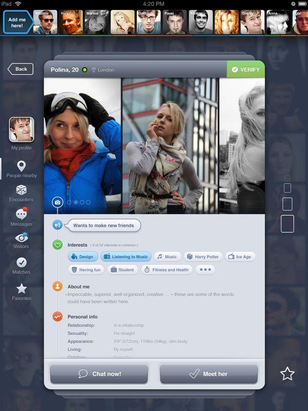 Stay up to date with daily web design news:  http://www.fb.com/mizkowebdesign    Badoo Profile for iPad by Dmitriy Chuta, via Behance    #webdesign #design #designer #inspiration #user #interface #ui #web