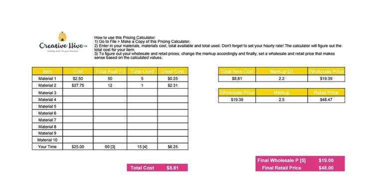 Creative hive pricing calculator pricing calculator