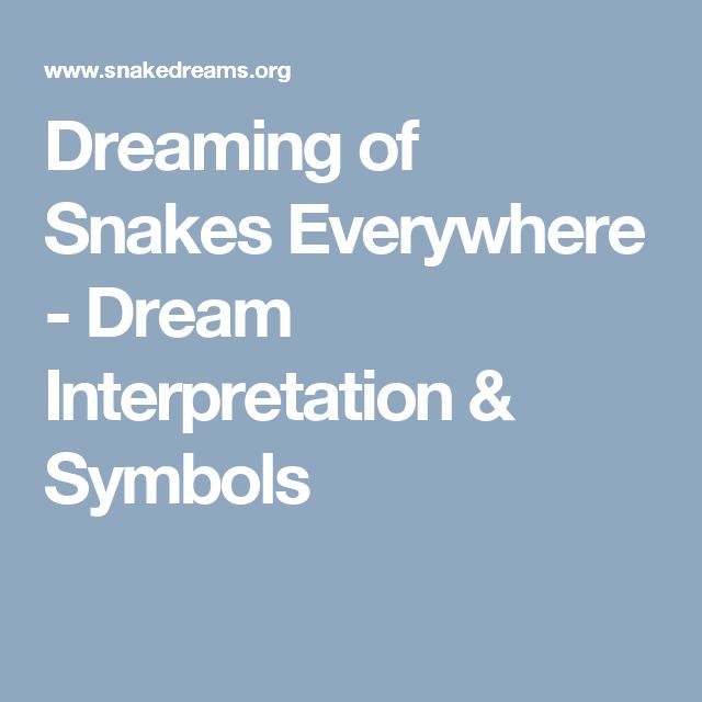 Dreaming of Snakes Everywhere - Dream Interpretation & Symbols